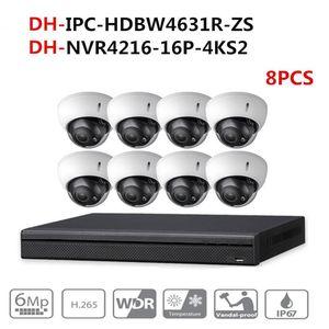 Kits de caméra sans fil Dahua Security System Kit 8PCS 6MP POE ZOOM IP IPC-HDBW4631R-ZS 16Pe 4K NVR NVR4216-16P-4KS2 Surveillance vidéo