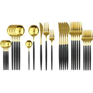 30Pcs Set Black Gold Dinnerware Set 304 Stainless Steel Mirror Cutlery Set Tableware Set Dessert Fork Flatware Home Accessories Z1202