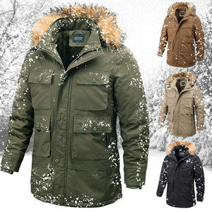 Winter Jacket Men Outdoor Parka Coat Plus Size Fur Collar Warm Coat With Many Pockets Outdoor Sport Working Jacket Men Fur Lined 201125
