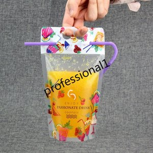 Bag For Drink For Holes Fruit Milk Packaging And Plastic Juice 500ml Pattern Pouch Straw With Coffee Beverage Handle yxlCa garden_light