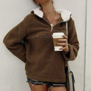 zip up hoodie Womens Ladies Warm Faux Fur Hoodies Winter Zipper Solid Colors Long Sleeve Hooded Fleece Plush Sweatshirts Outerwear#35