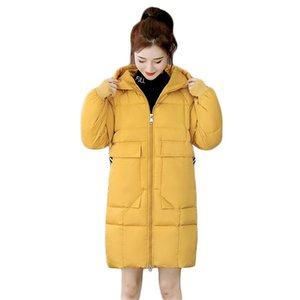 Winter Coat Women Yellow Oversize Loose Down Cotton Jackets 2020 Autumn New Korean Fashion Long Thick Warmth Hooded Parkas JD940 F1203