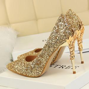 Bling Floral Hochzeit Schuhe Pailletten Eden High Heels Schuhe Für Hochzeit Abend Party Prom Schuhe Rot Blau Weiß Schwarz Silber Bunt Auf Lager
