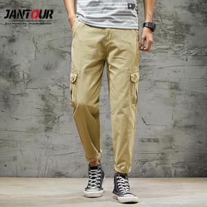 Jantour 2020 New Cargo Pants Men Harem Pants Regular Fit Track Trousers Fashion Casual Cotton Quality Clothes Size 38