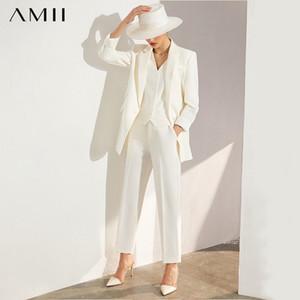 AMII Minimalism Autumn Women's suit Blazer And Pants Lapel Office Coat Solid Vest High Waist Women's Suit Pants 12040354 A1111