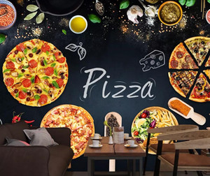 Bacal Custom 3D wallpaper mural personality pizzeria restaurant blackboard newspaper background wall home decor huda beauty