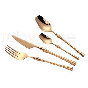 24 Pcs Stainless Steel Tableware Gold Cutlery Set Knife Spoon and Fork Set Dinnerware Korean Food Cutlery Kitchen Accessories RRA3913