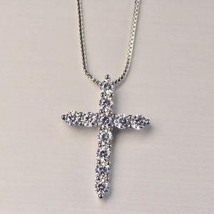 Luxo Cúbico Zircão Cross Pingente Colar 925 Sterling Silver Cross Christian Jesus Jóias para mulheres Presente Livre DHL