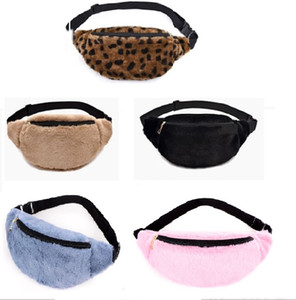 Unisex fluffy waist bag winter fashion women waist pack Personality leopard print chest bags shoulder crossbody cellphone pouch purses