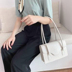 Luxury Female Shoulder Bags New Arrival Women Handbags PU Leather Shoulder Bags Woman Plain Color Simplicity Style White Khaki