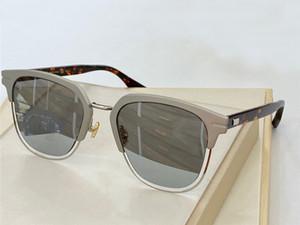 Gafas de sol cuadradas Tortuga gris espejo espejo de plata Unisex Diseño especial Gafas de sol Nuevo con caja
