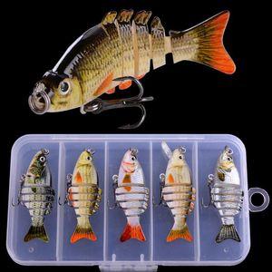 5pcs Winter Fishing Gear Bionic Mini Multi-Secure Swim Dard Bait 5CM / 2.4G Wobbler artificial Rotating Trolling Pike CA JLLMFP