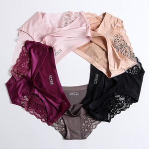 Hot Sale Women Underwear Sexy Ice Silk Seamless Lingerie Panties One-piece Sexy Nylon Low Waist Lace Underpants Briefs 2XL 5pcs lot