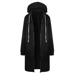 Women Black Zipper Open Solid Warm Hoodies Sweatshirt Long Tops Outwear Ladies Leisure Autumn Sweatshirts Moletom Com Capuz1