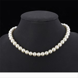 Designer High Quality Synthetic Pearl Necklace for Women 2015 New Trendy Resizable Luxury White Black Beaded