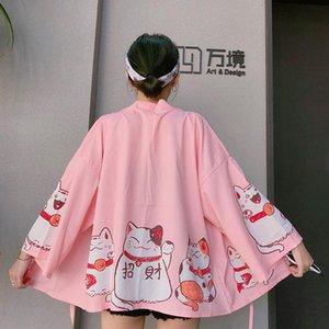 Women's Clothing New Japan Streetwear harajuku Coats loose Sweet Cats print Jackets Thin hipster lace up cardigan kimono Jackets