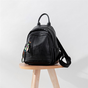 Backpacks Color Letter Ribbon Thread Zipper Backpack Women Fashion High Capacity school bag Anti-theft Travel backpacks Soft leather leisure