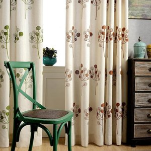 Pastoral Fresh Style Cotton and Linen Blockout Cloth Curtain Coffee  Green Plant Embroidered Cloth Curtain for Study Bedroom1