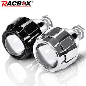 Racebox 2 قطع 2.5 بوصة العالمي بي زينون hid العارض عدسة الفضة الأسود كفن h1 زينون led لمبة H4 H7 دراجة نارية سيارة العلوي Q1117
