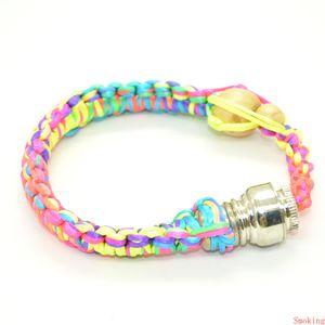 Premium Handmade Stash Bracelet Smoking Pipe Metal Rope Wood Jamaica Rasta Pipe Tobacco Herb Hand Pipes Rainbow Color Gift for Man Women