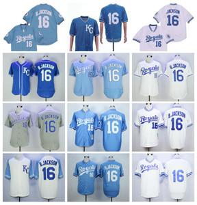 Retro Vintage 1974 1980 1985 1987 Retirne 16 BO Jackson Baseball Jersey Männer Blau Weiß Grau Team Pullover FlexBase Cool Base Nähed