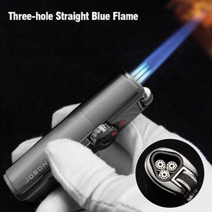 Multi-function Butane Gas Lighter with Cigar Cutter Windproof Straight Flame Cigarette Lighter Inflatable Portable Lighter Smoking YL0190