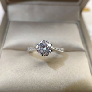 Luxury 925 Silver Passed Diamond Test Mossanite Ring Perfect Cut 1 ct D Color VVS1 Engagement Wedding Rings for Women