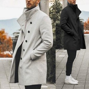 2020 High Quality Coats Men Winter Classic Slim Autumn Trench Male Casual Pockets Solid Long Windbreaker Vintage Blends Coats