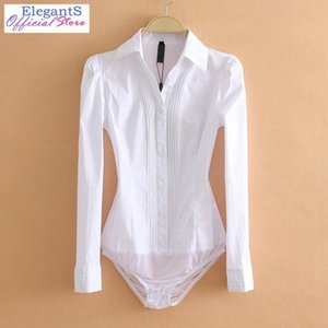Women bodysuit Office Lady Work Bodycon White Body Shirt Blouse Female Long Sleeve Suits Shirts Turn Down Collar Tops 2020 XL