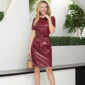 DABOURFEEL Rahat Kemer Kısa Kollu PU Deri Elbiseler Kadın O-Boyun Slim Fit Seksi Diz Elbise Parti Kulübü Yeni Varış 2021