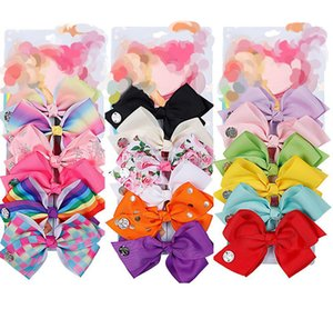 6pcs set 5.6 inch flower printed bow hairclips for baby girls Rainbow Girls barrettes Hair Accessory H102
