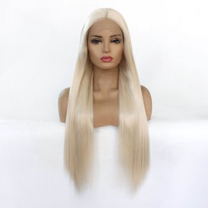 Blonde Color straight Lace Front synthetic wig for lady woman with soft handfeeling and wholsale wig