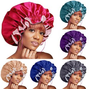 IN STOCK ! Women&#39s Beauty Big Size Night Cap Head Cover Bonnet Satin cheveux nuit Silk Sleeping Cap Hat For Curly Hair care