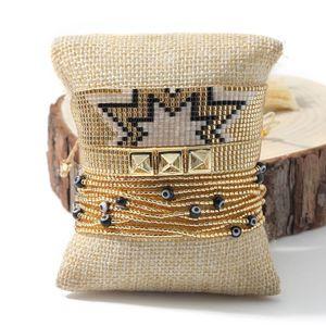 Rttooas Miyuki Beaded Bracelet For Women Fashion Rivet Gold Charm Bracelets Boho Jewelry Friendship Bracelets Love Gift 2020 Y1119