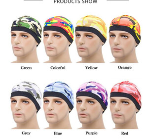 Unisex Silky Dome Cap Wave Caps Camouflage Satin Durags Stretchy Band Round Hat Hip Hop Cap Beanie Swimming Bathing Cap Hair Care CZ120103