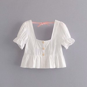 Summer Floral Embroidery Chic Ladies French Style White Short Blouse 2020 Women Fashion Jewelry Button Puff Sleeve Ruffles Shirt B1203
