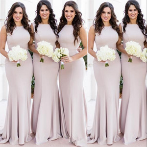 2021 New Blush Pink Cheap African Simple Mermaid Long Bridesmaid Dresses Custom Stretchy Plus Size Wedding Guest Gowns Maid Of Honor Dresses