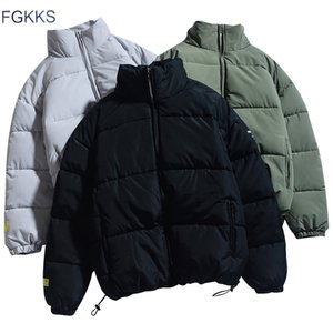 FGKKS Winter New Men Solid Color Parkas Quality Brand Men's Stand Collar Warm Thick Jacket Male Fashion Casual Parka Coat 201119