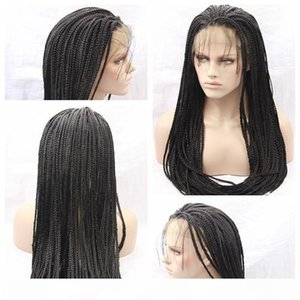 Cheap Sexy Synthetic Black Braiding Hair Wigs African Braided Lace Wig Heat Resistant Synthetic Lace Front Wigs for Black Women High Density