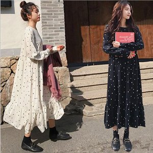 2020 Spring Summer European Style Brand Cothing Loose Long Sleeve Women Dresses Print Dot Linen Vestidos O-Neck Robe