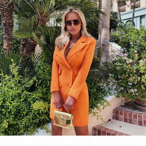 Womens Solid Color Designer Blazers Lapel Neck Slim Office Lady Clothes Autumn Winter Women Double Breasted Coat