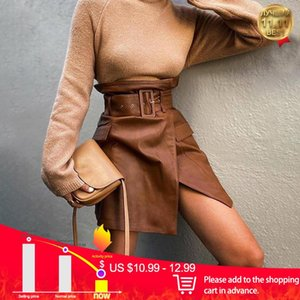 Pocket Slit PU Women's Skirts With Belt Faux Leather Bodycon Bottom Female Autumn Winter Fashion Ladies MIni Skirt New Design