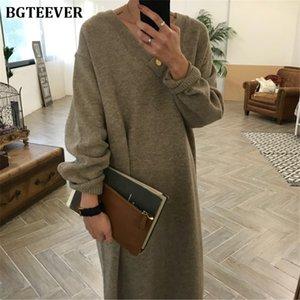 BGTEEVER Chic Oversize Thick Long Sweater Dress Women V-neck Autumn Winter Straight Sweater Dress Female Casual Loose Knit Dress F1215