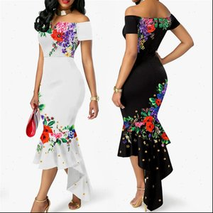 2021 Summer Womens Off Shoulder Floral Elegant Dresses Evening Party Wedding Formal Dresses Ruffles Fishtail Ladies Dress