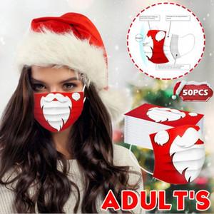 Santa Disposable Christmas 4 Styles Claus Printing Masks Adult xmas Breathable Dustproof face Masks YYA575 600pcs