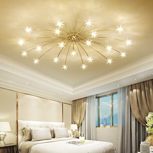 Nordic Round Starry Sky LED Crystal Glass Ceiling Lights 21 28 Heads Stars Ceiling Lamps Bedroom Living Room Light Fixtures