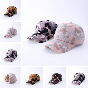Camouflage Pattern Ponytail Baseball Cap Knitting Criss Cross Washed Ball Cap Fashion Camouflage High Messy Hat Party Hats 100pcs T1I3045
