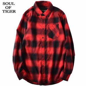 SOUL OF TIGER 2020 New Spring Korean Fashion Designer Mens Plaid Tops Male Loose Casual Shirts Vintage Oversized Cotton Clothes