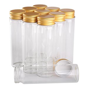 24 pieces 50ml 30*100mm Glass Bottles with Golden Aluminum Caps Glass Spice Jars Glass Vials for Wedding Crafts Gift