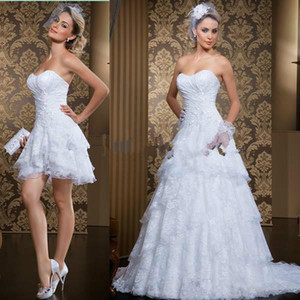 New Trend Lace Short Wedding Dresses With Detachable Train 2021 Sweetheart A Line Full Length Tiered Lace Country Church Wedding Gowns Bride